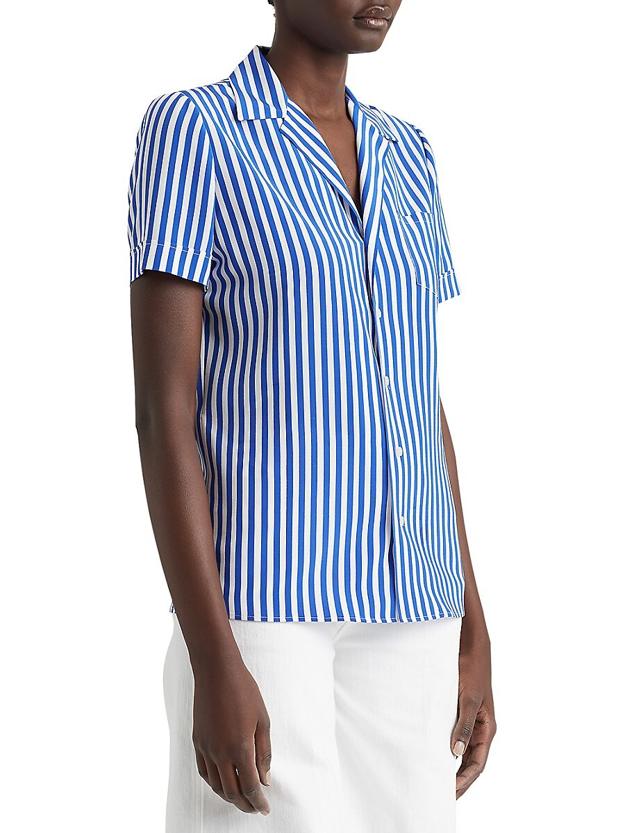 RALPH LAUREN Silks WOMEN'S CARNEY STRIPED SILK SHORT-SLEEVE SHIRT