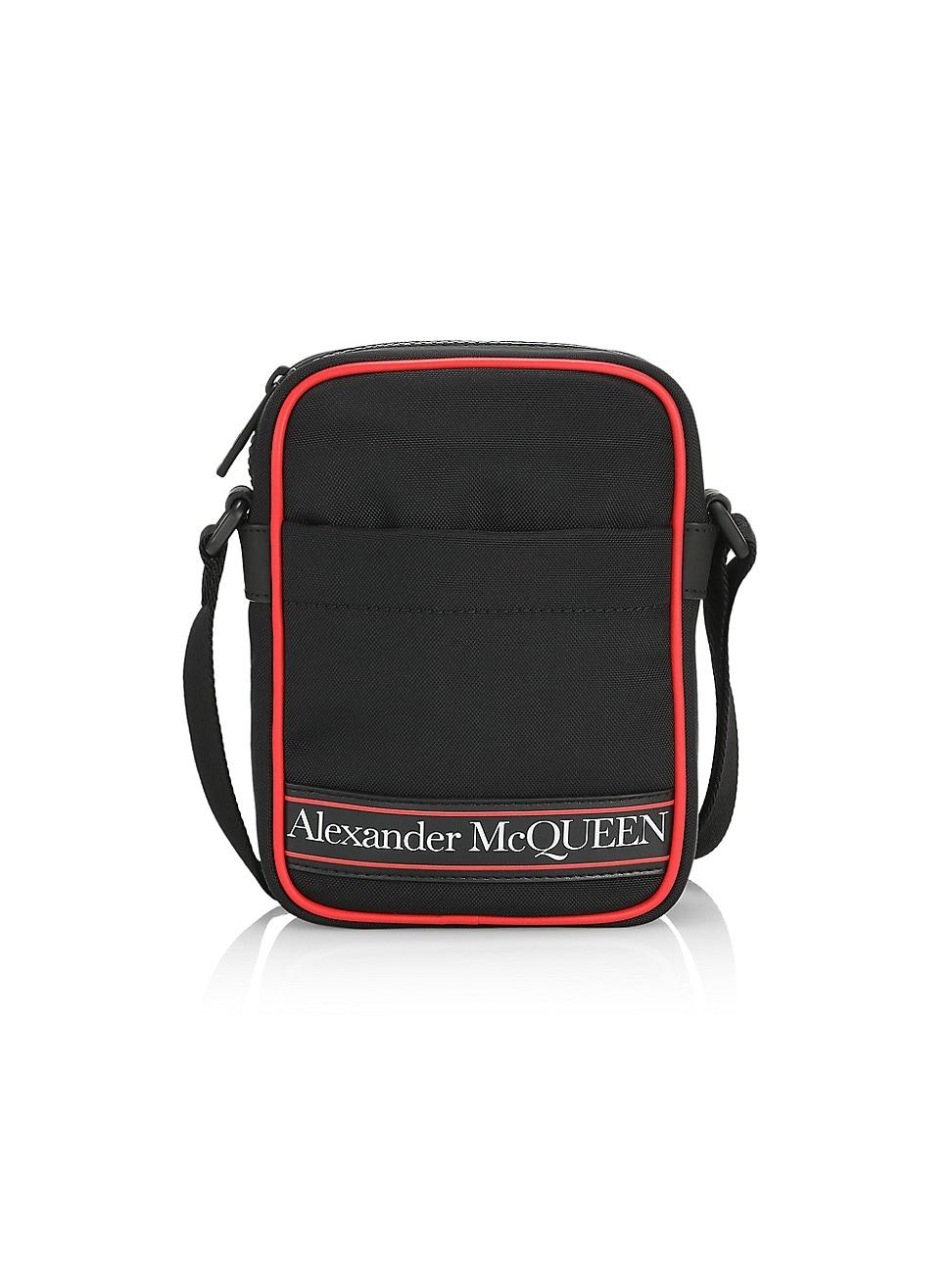Alexander Mcqueen Men's Mini Messenger Bag In Black Red