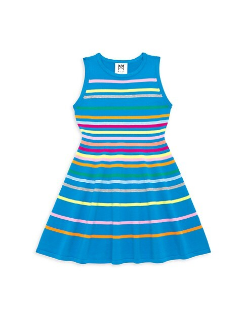 Girl's Rainbow Stripe Flared Dress