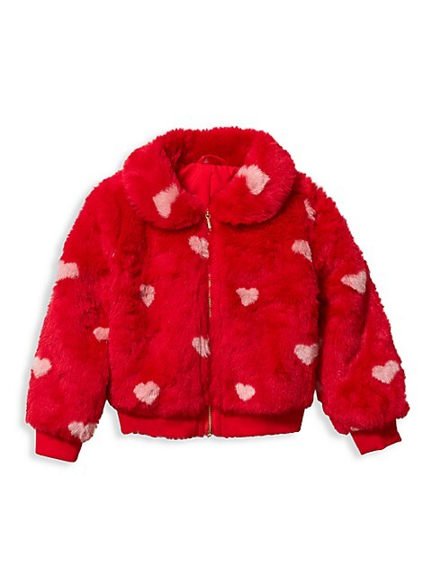 Baby's, Little Girl's & Girl's Heart Print Faux Fur Jacket