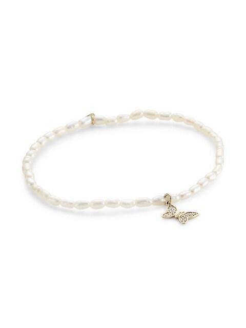 14K Yellow Gold, 2MM Rice Pearl & Diamond Tiny Butterfly Charm Bracelet