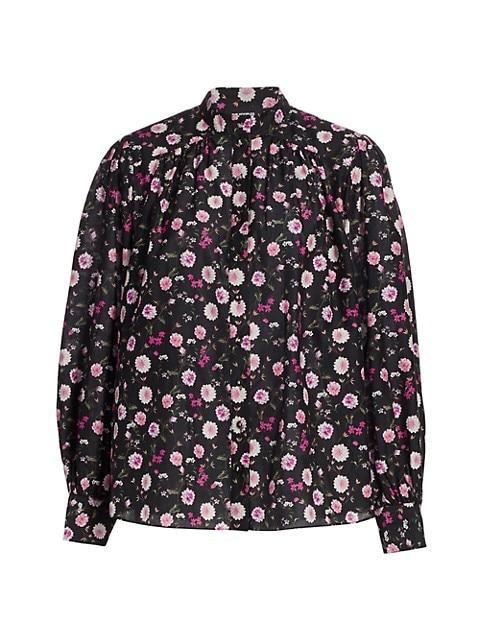 Floral Cotton & Silk Band-Collar Shirt