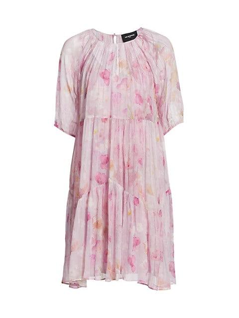 Floral-Print Semi-Sheer Dress