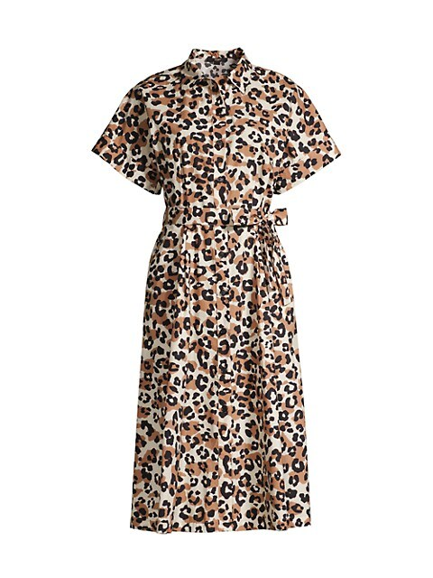 Leopard-Print Belted Poplin Shirtdress