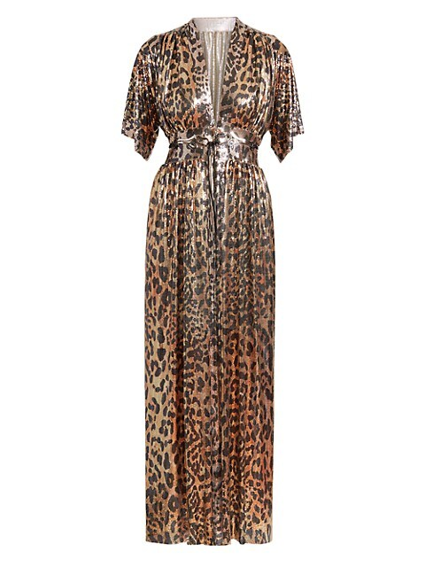 Embellished Leopard-Print Robe Midi Dress