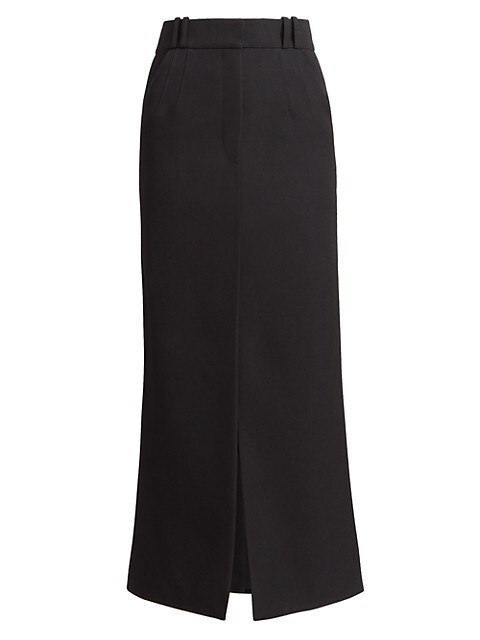 Wool Slit Midi Skirt