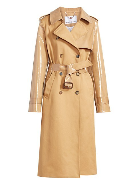 Paco Rabanne PVC Mixed Belted Trench Coat