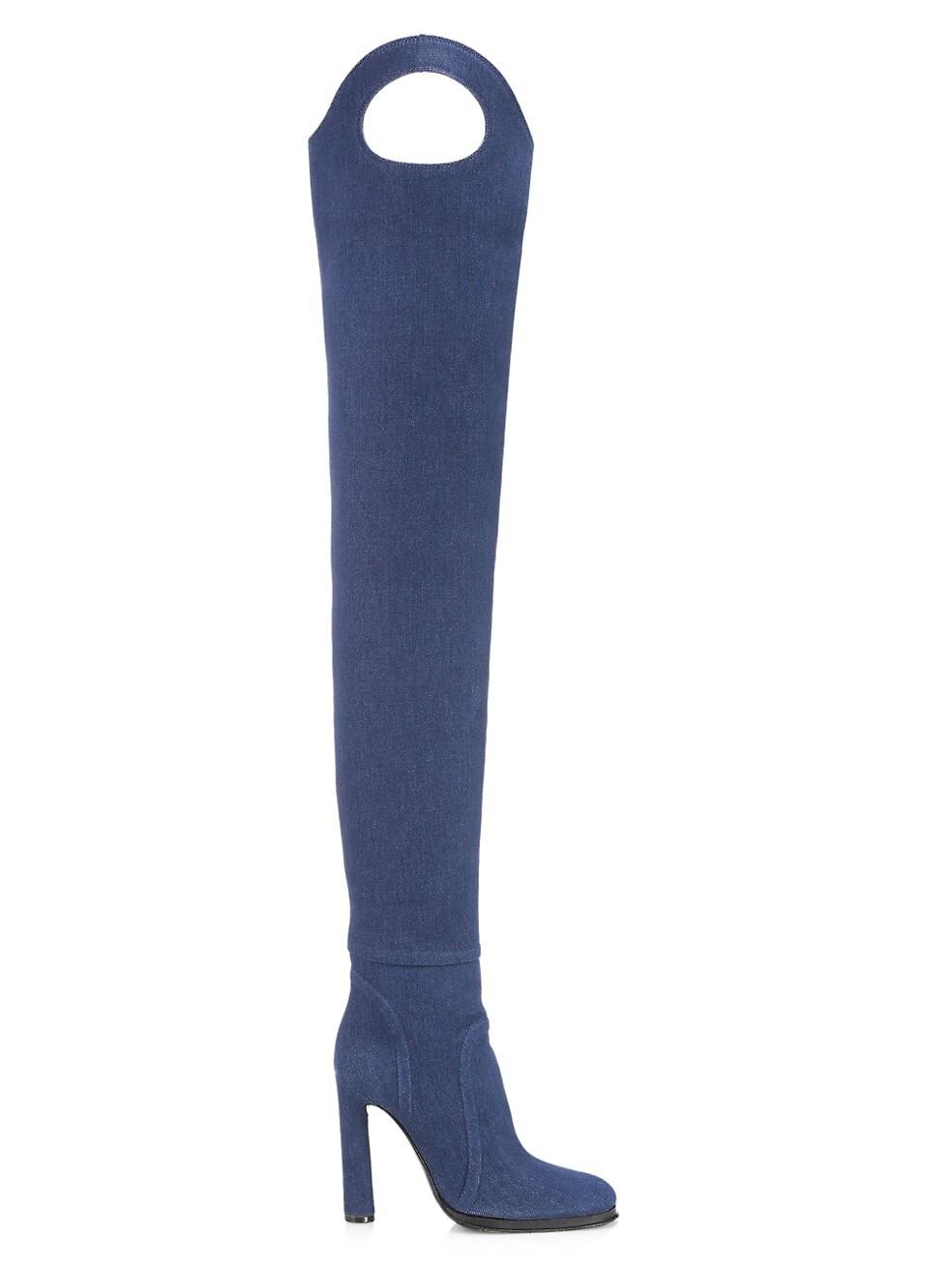 Burberry Alto Thigh-High Denim Boots