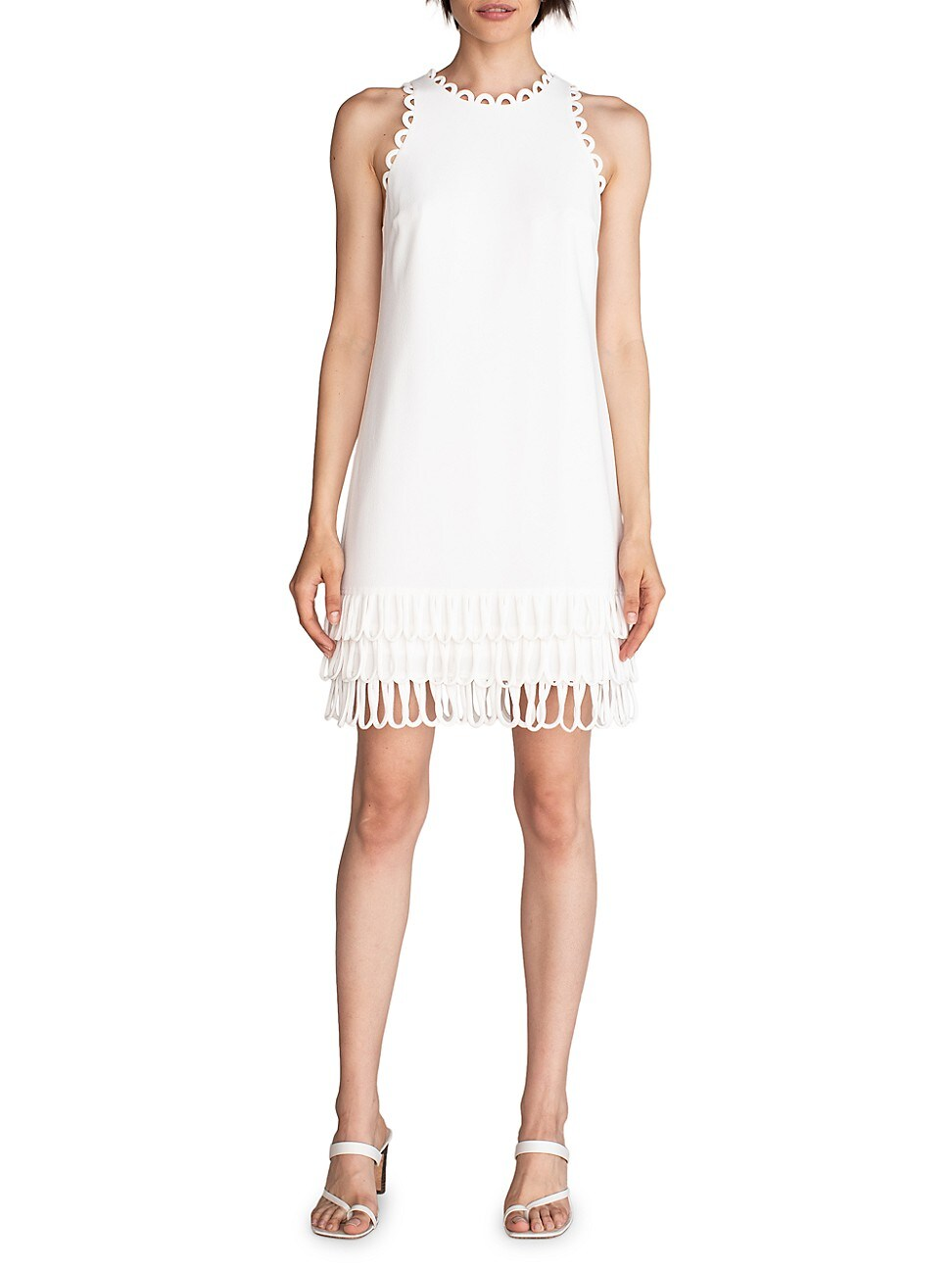 Trina Turk WOMEN'S SEAHORSE SCALLOPED TRIM SHIFT DRESS