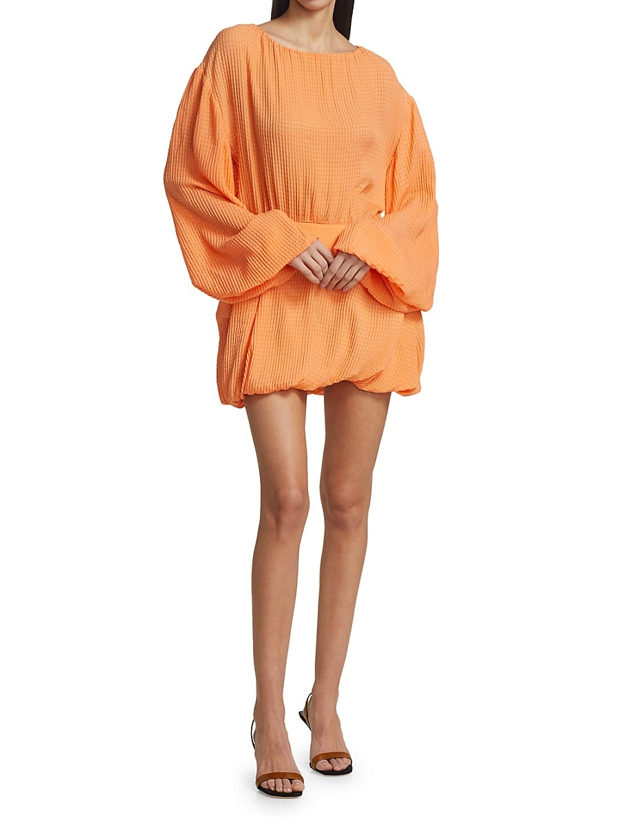 STELLA MCCARTNEY Silks WOMEN'S AMANDA BALLOON-SLEEVE SILK MINI DRESS