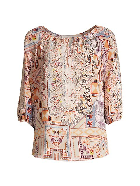 Sukie Lace Silk Peasant Blouse
