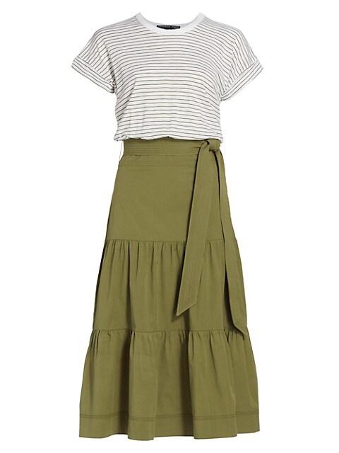 Trail Mixed-Media Midi Dress