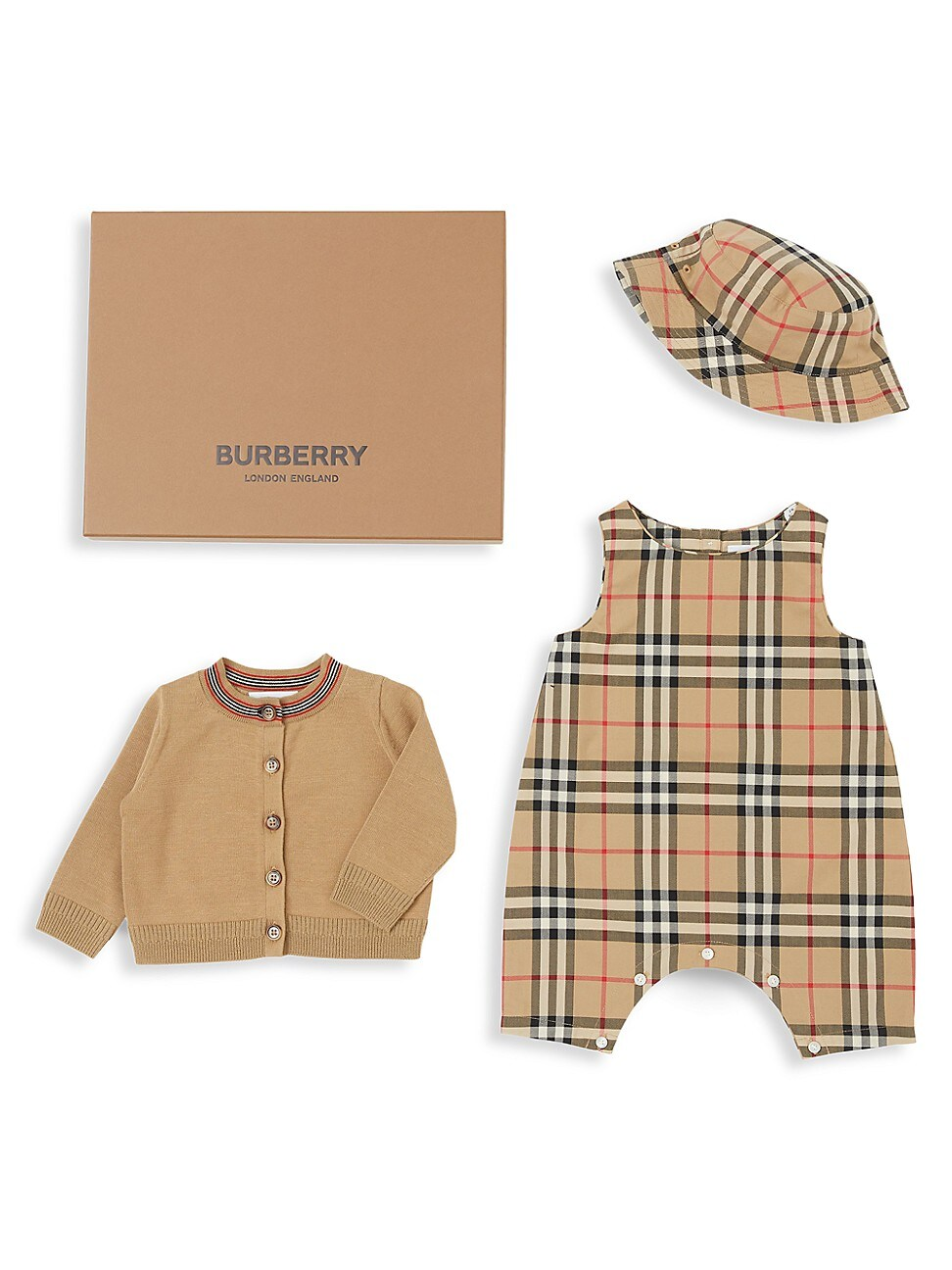 Burberry BABY'S 3-PIECE BODYSUIT, CARDIGAN, & HAT GIFT SET