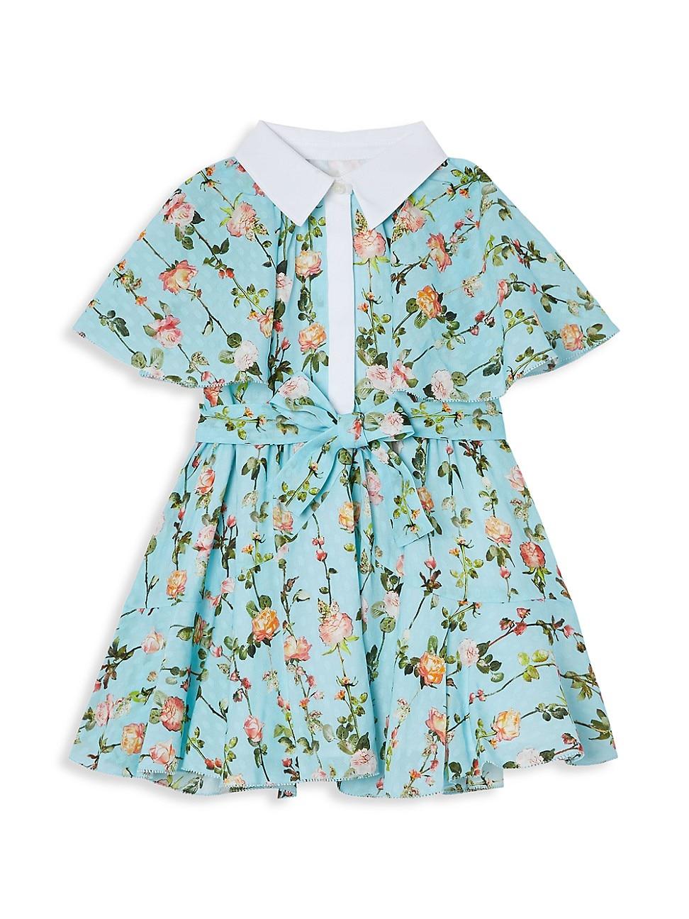Burberry Dresses BABY'S AND LITTLE GIRL'S ROSE-PRINT SHORT-SLEEVE CAPE-DETAIL DRESS