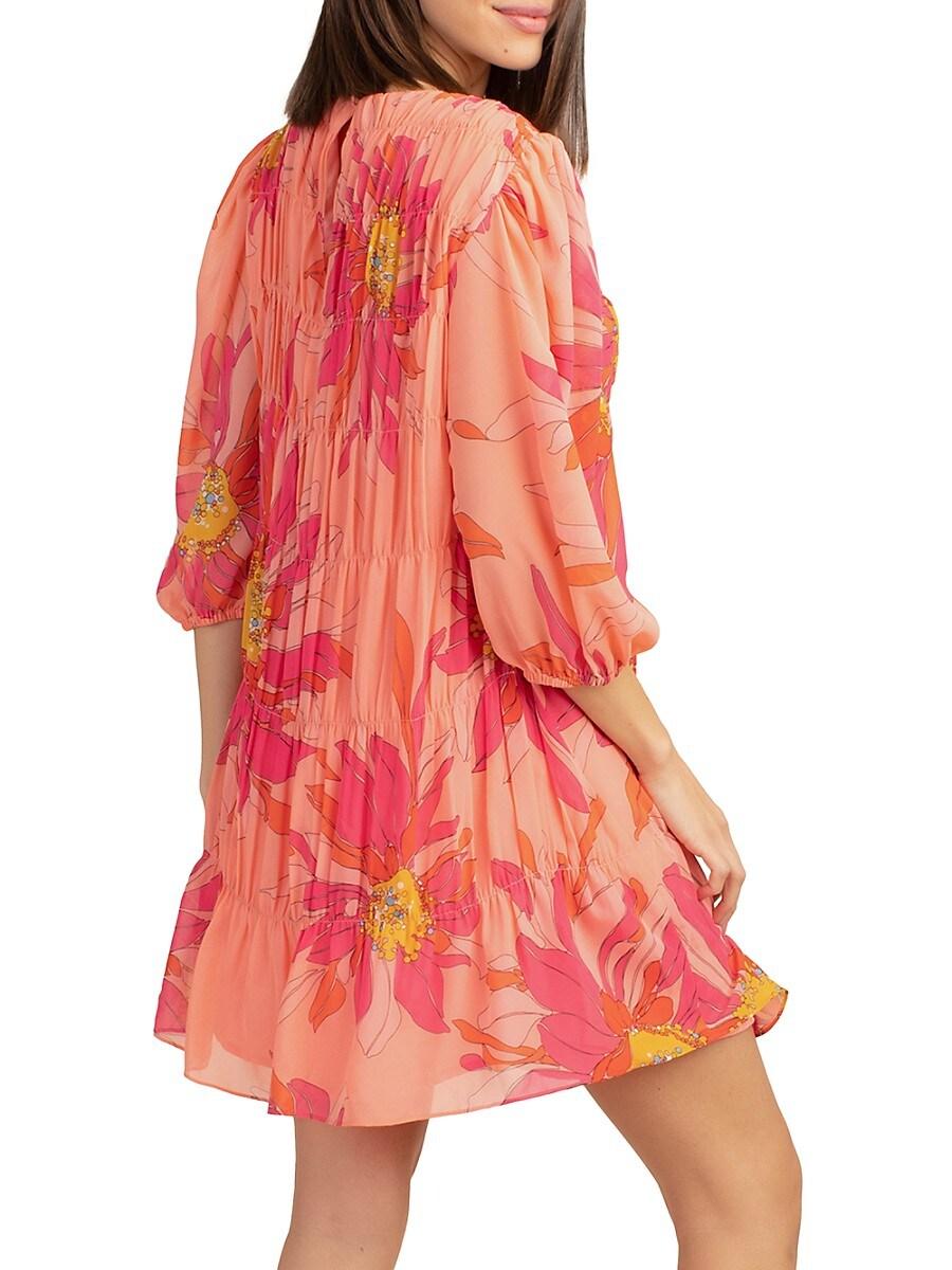 TRINA TURK Dresses WOMEN'S PLEATED FLORAL SHIFT DRESS