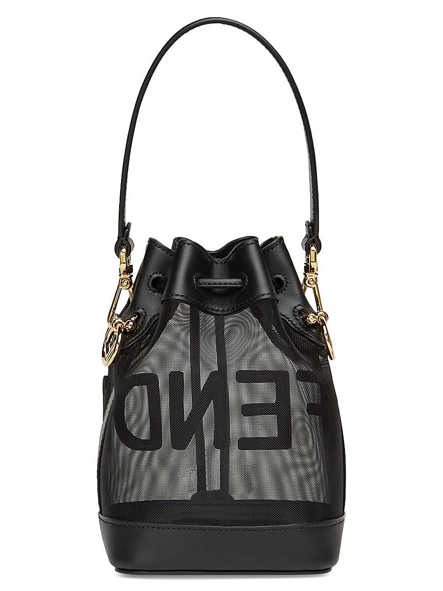FENDI Leathers WOMEN'S MINI MON TRESOR LEATHER-TRIMMED MESH BUCKET BAG