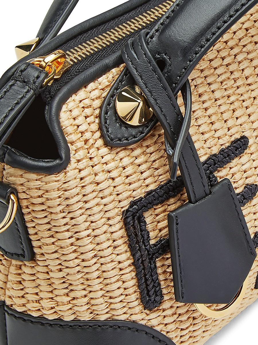 FENDI Leathers WOMEN'S MINI BY THE WAY LOGO LEATHER-TRIMMED RAFFIA SATCHEL