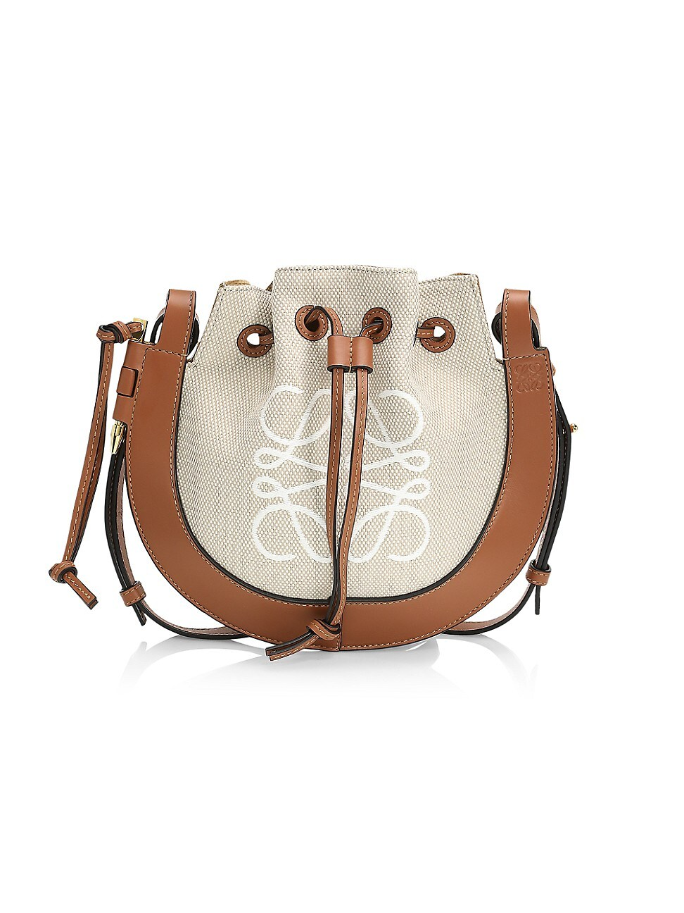Loewe Women's Small Horseshoe Anagram Leather Bag In Brown