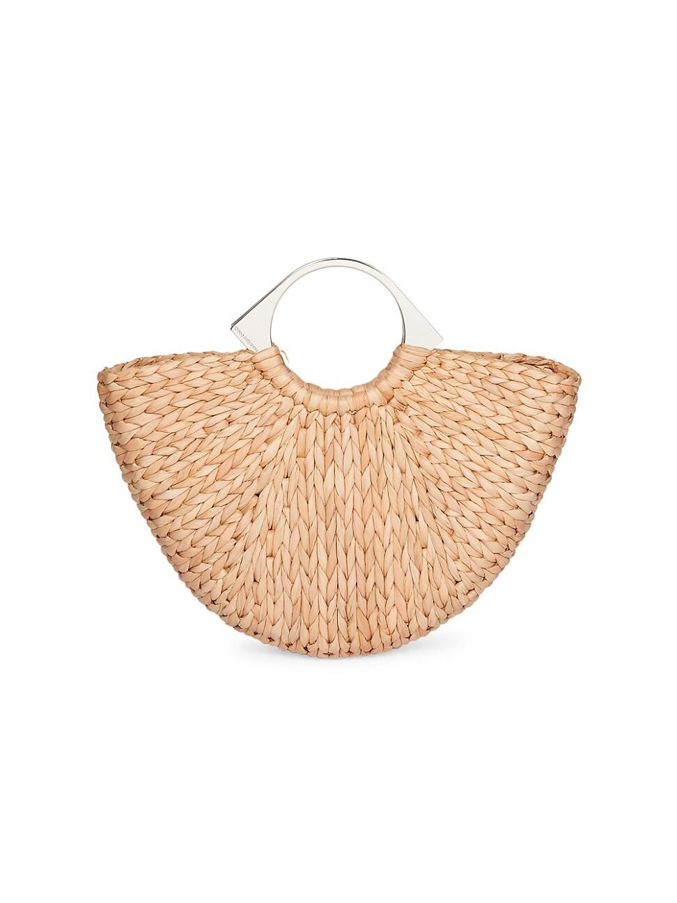 Paco Rabanne Women's Op'art Basket Woven Top Handle Bag In Silver Brown