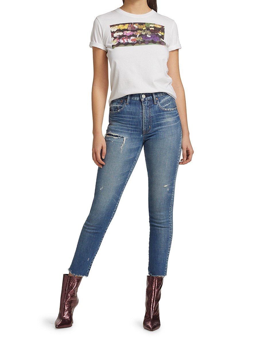 MOUSSY VINTAGE Denims WOMEN'S HAMMOND HIGH-RISE SKINNY DISTRESSED JEANS