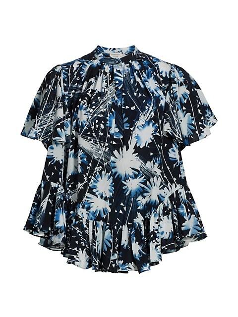 Floral Print Ruffle A-Line Shirt