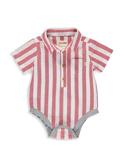 Baby Boy's Stripe Oxford Stripe Short-Sleeve Bodysuit