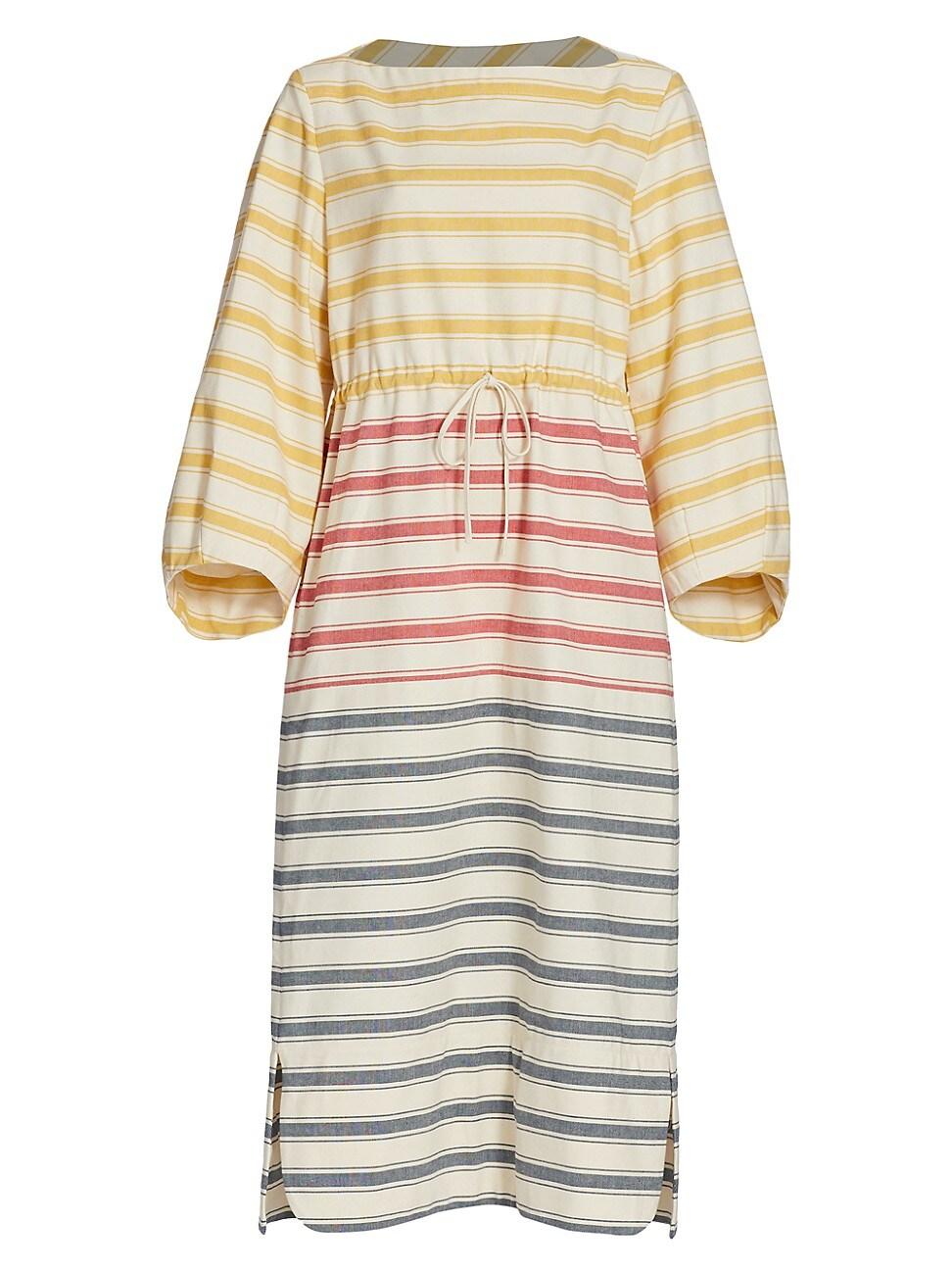 Rosie Assoulin Cottons WOMEN'S STRIPED DRAWSTRING CAFTAN DRESS