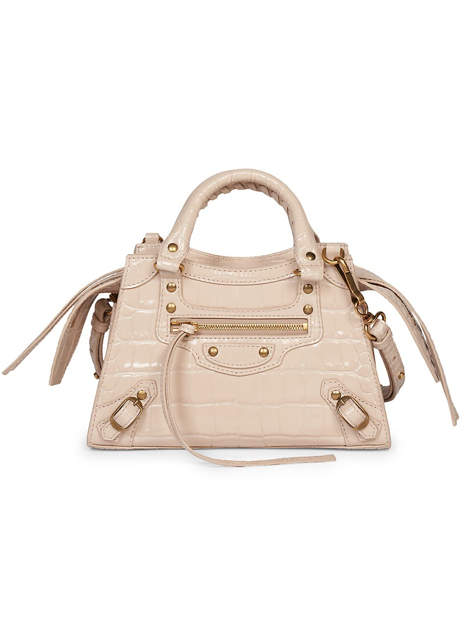 Balenciaga WOMEN'S MINI NEO CLASSIC CITY CROC-EMBOSSED LEATHER SATCHEL