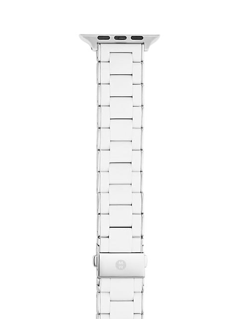 Apple® Watch White Silicone-Wrapped Stainless Steel Bracelet Strap/38, 40, 42 & 44MM