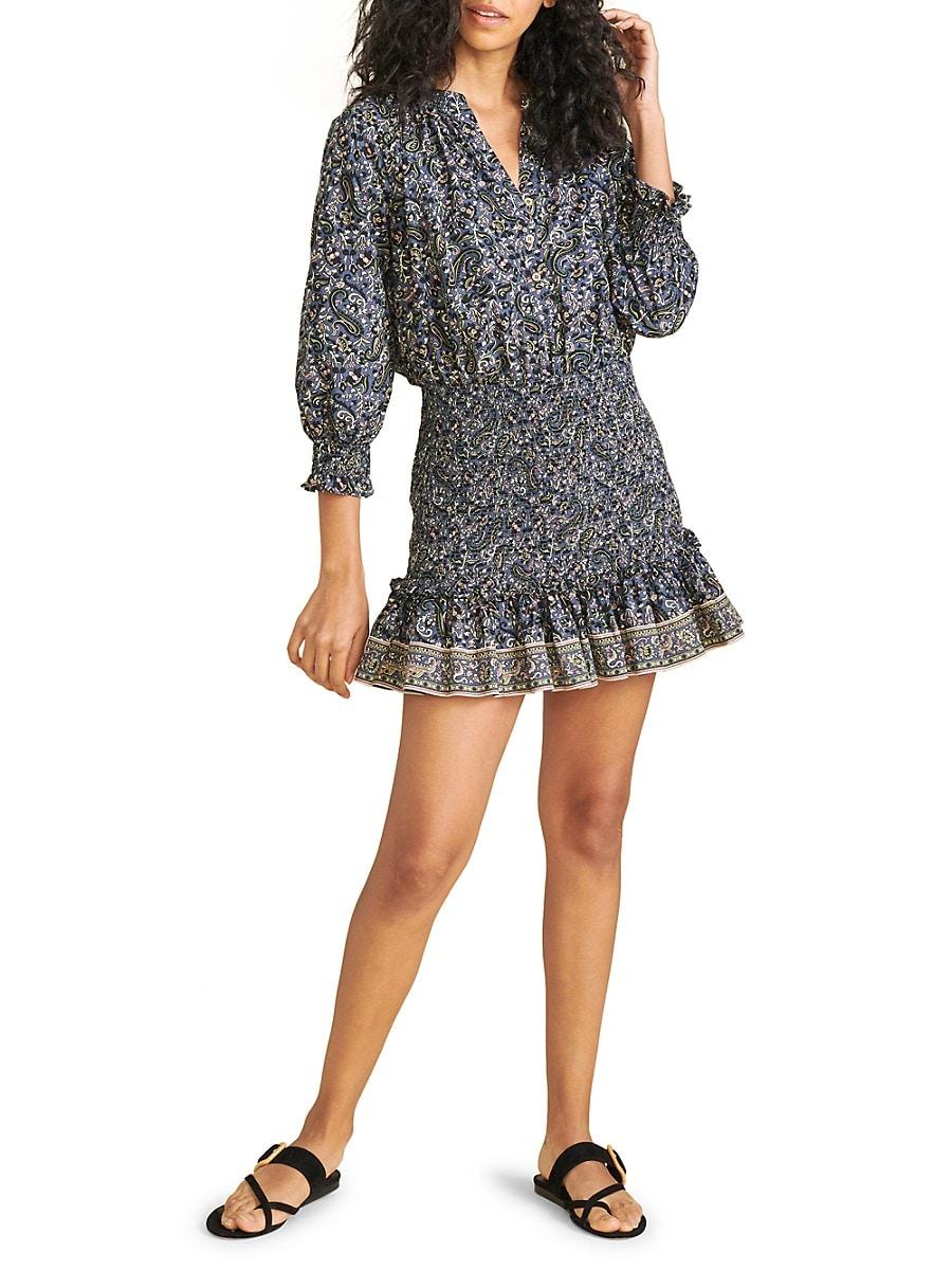 VERONICA BEARD Cottons WOMEN'S KARLINA PRINTED SMOCKED MINI DRESS
