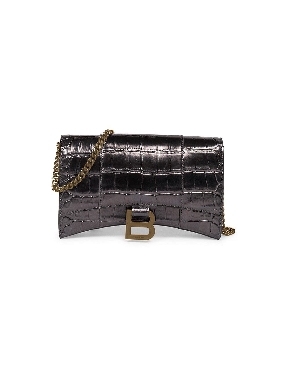 Balenciaga Wallets WOMEN'S HOURGLASS CROC-EMBOSSED LEATHER WALLET-ON-CHAIN