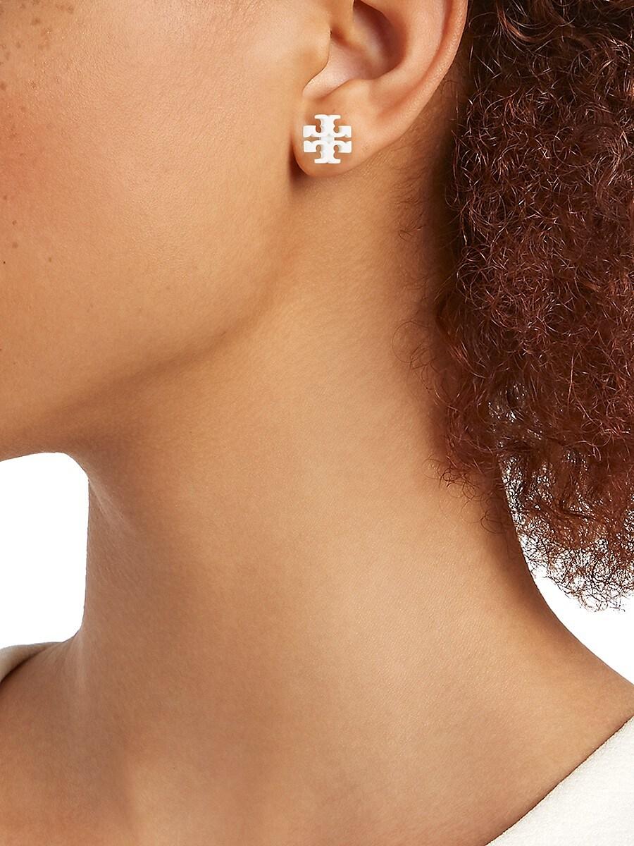 TORY BURCH Beauty sets WOMEN'S SET OF 2 PAIR KIRA POWDER-COATED ENAMEL T-LOGO STUD EARRINGS
