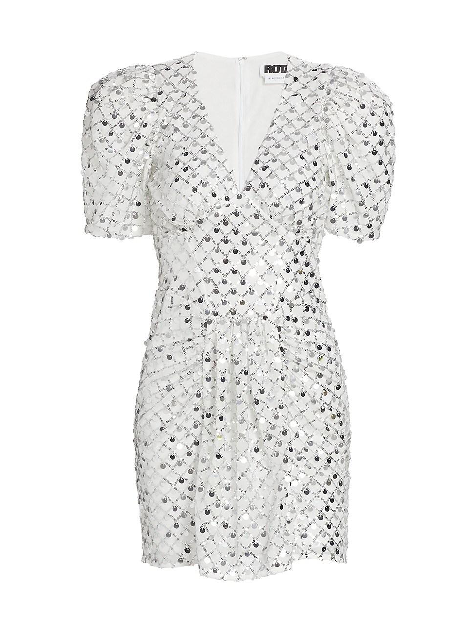 Rotate Birger Christensen Midi dresses WOMEN'S ALMA SHORT PUFF-SLEEVE DRESS