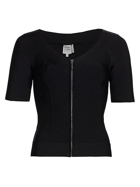 Short-Sleeve Rib Zip Jacket