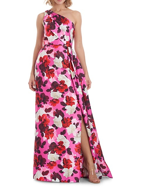 Floral One-Shoulder A-Line Side Slit Gown