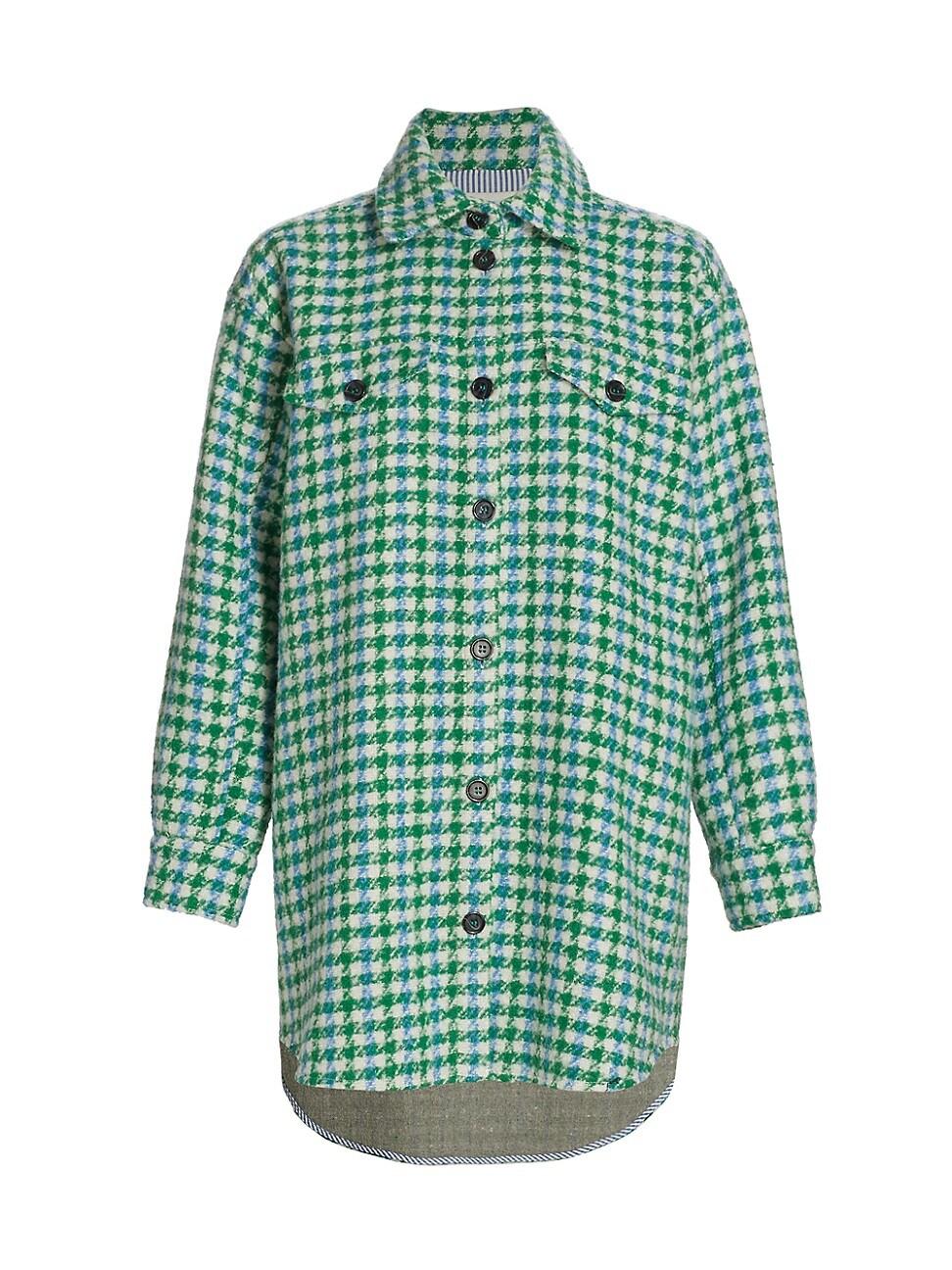 Munthe Clothing WOMEN'S TARGET PLAID WOOL-BLEND SHIRT JACKET