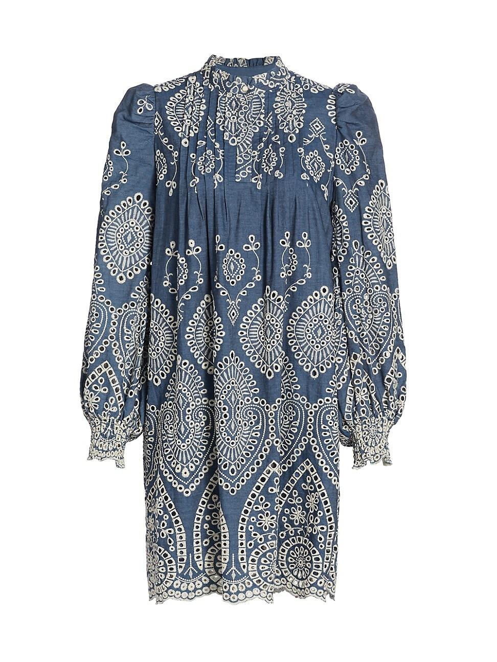 Munthe WOMEN'S TEPIC PRINT HIGH-NECK PUFF-SLEEVE SHIFT DRESS