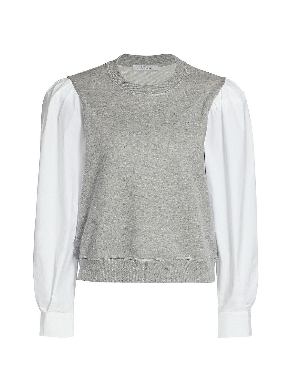 Derek Lam 10 Crosby Cottons WOMEN'S MILTON MIXED MEDIA PUFF-SLEEVE SWEATSHIRT