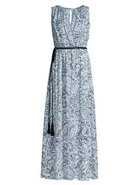 Belted Swirl-Print Maxi Dress