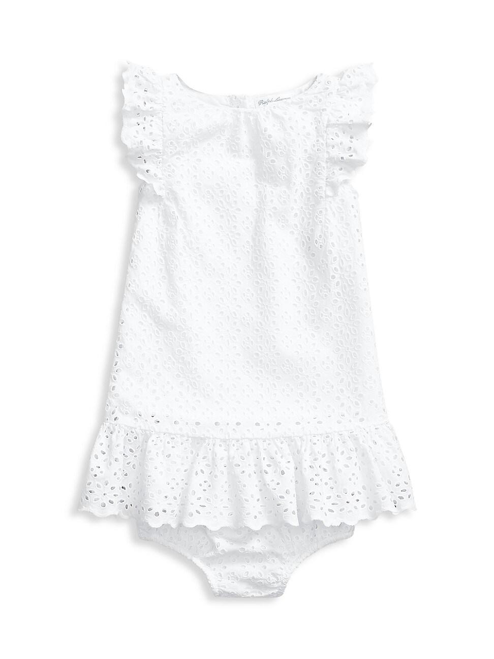 Ralph Lauren Baby Girl's 2-piece Eyelet Dress & Bloomers Set In White