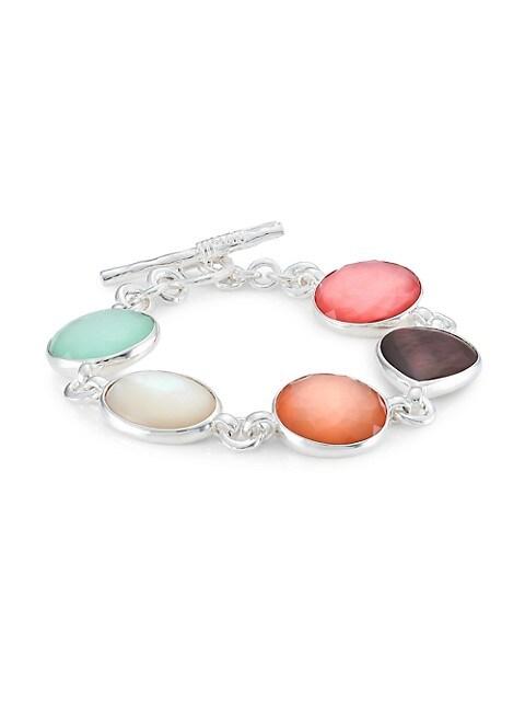 Wonderland Sterling Silver, Shell & Mixed-Stone 5-Stone Flexible Toggle Bracelet