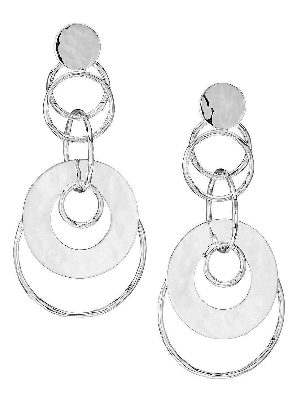 Ippolita Earrings WOMEN'S 925 CLASSICO CRINKLE STERLING SILVER MEDIUM DISC & LINKS JET SET EARRINGS