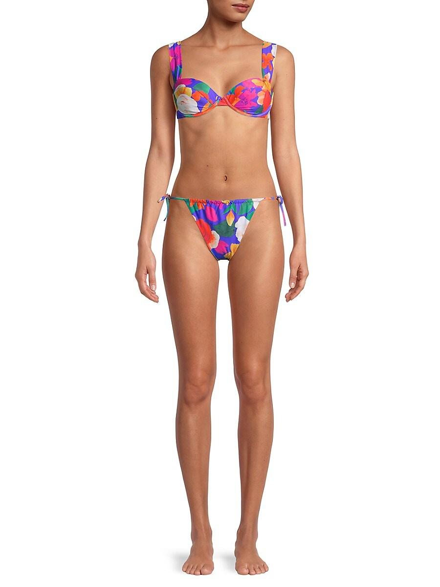 WEWOREWHAT Bikinis WOMEN'S CLAUDIA FLORAL-PRINT BIKINI TOP
