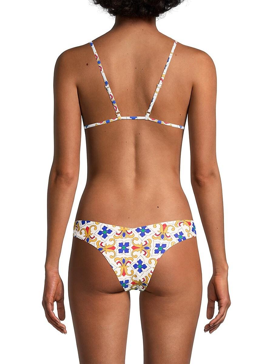 WEWOREWHAT Bikinis WOMEN'S DELILAH TILE-PRINT BIKINI BOTTOM