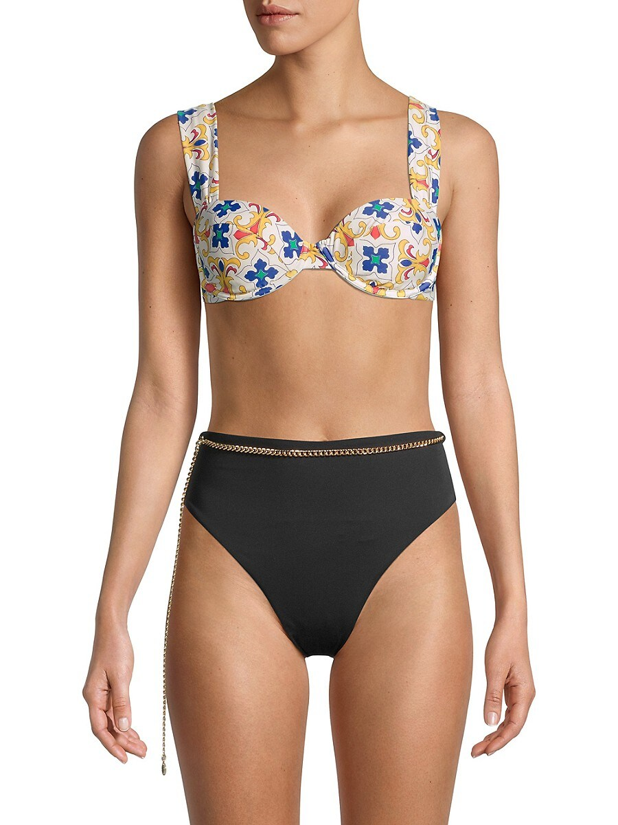WEWOREWHAT Bikinis WOMEN'S CLAUDIA TILE-PRINT BIKINI TOP