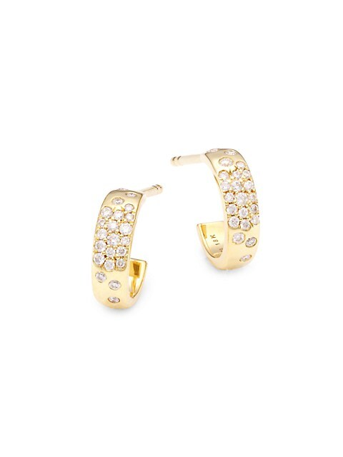 Stardust 18K Yellow Gold & Diamond Mini Huggie Hoop Earrings