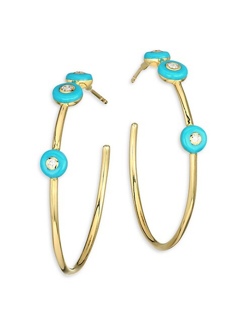 Stardust Carnevale 18K Yellow Gold, Turquoise Ceramic & Diamond Hoop Earrings