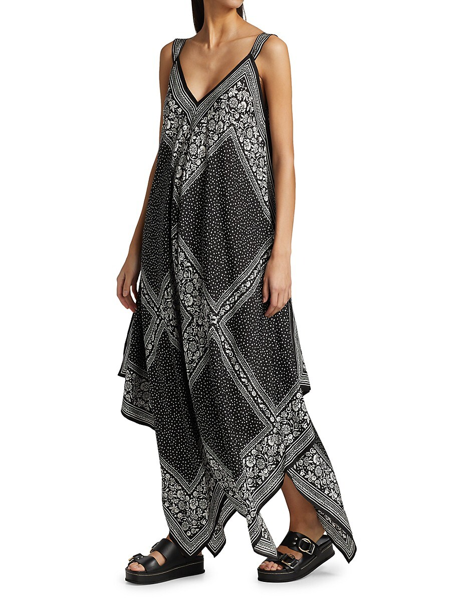 SEE BY CHLOÉ Silks WOMEN'S PORTOBELLO PATCHWORK SCARF PRINT SILK DRESS