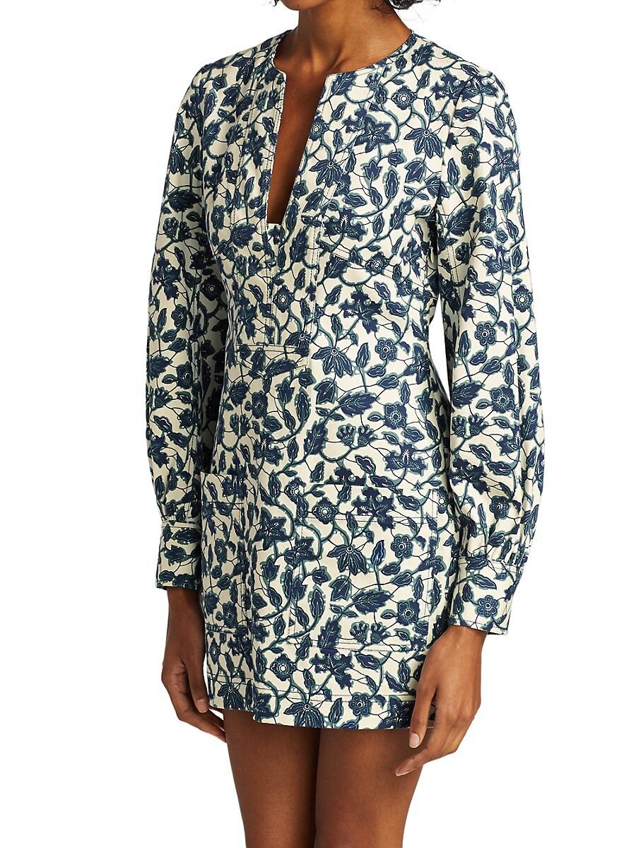 DEREK LAM 10 CROSBY Dresses WOMEN'S KASHA FLORAL LONG-SLEEVE SHIRTDRESS