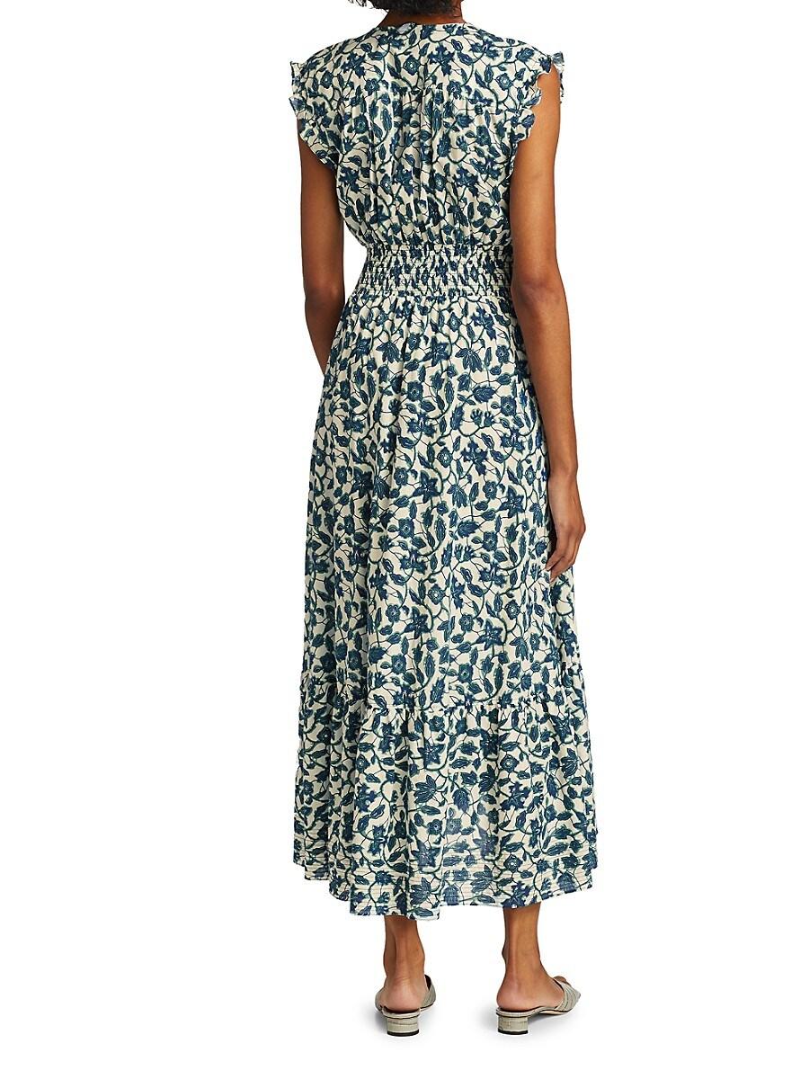 DEREK LAM 10 CROSBY Cottons WOMEN'S KRIS FLORAL SLEEVELESS MAXI DRESS
